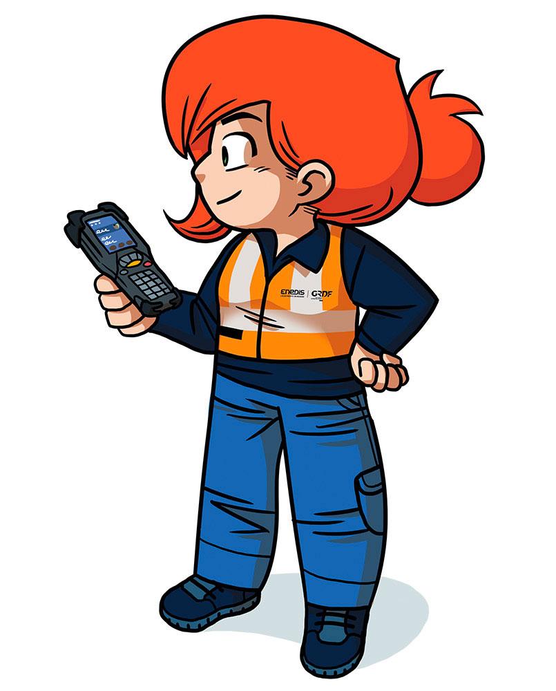 Enedis-mascotte-sécurité-personnage-illustrateur-brest-brestois