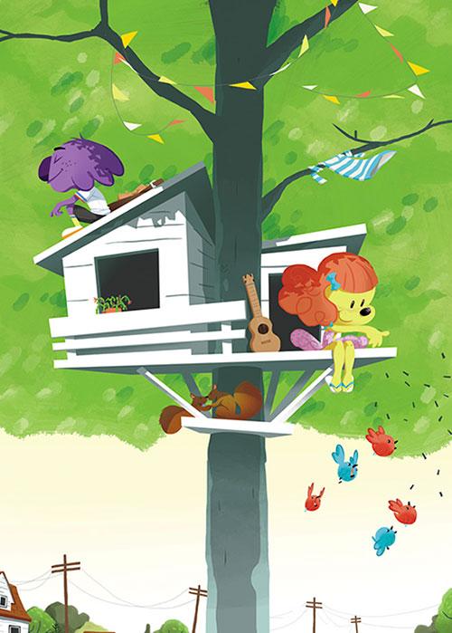 arbre-campagne-ville-treehouse-maison dans les arbres-vacances-mouk-illustration-illustrateur-brest