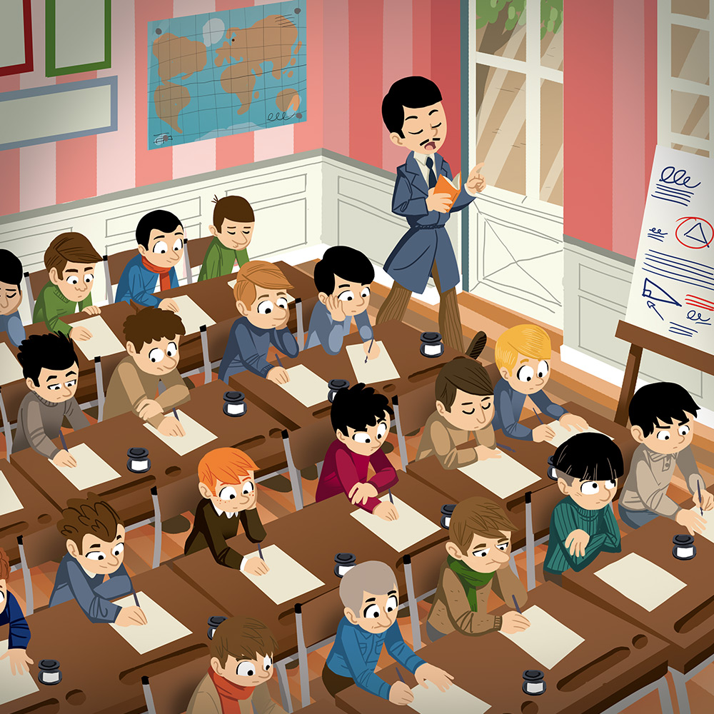 Pass Education-famille Pass temps-leçon-histoire-historique-école-XXeme-illustrateur-brest-brestois